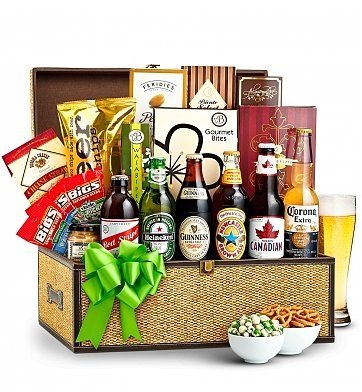 Birthday Beer Basket: Wine Baskets - A large hamper with your choice of beers and an assortment of pub style snacks.