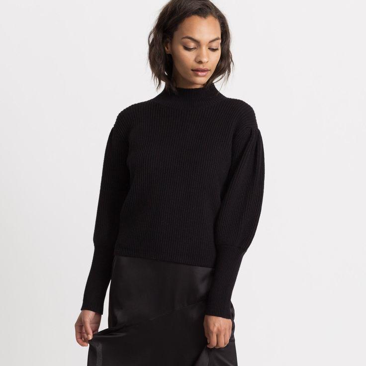 Enissa Balloon-Sleeve Sweater (Black)