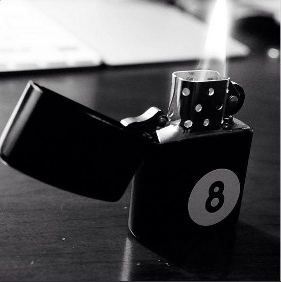 Black and white 8-ball Zippo lighter fan photo by Instagram fan @ photera_