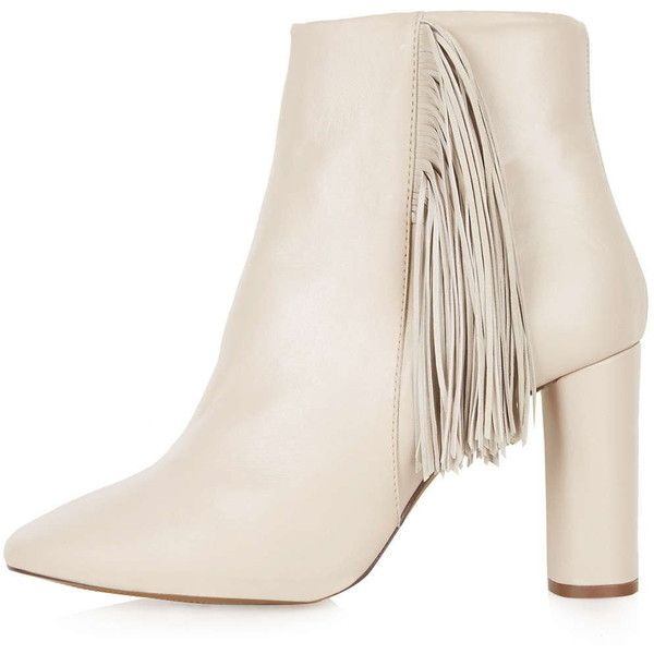 TOPSHOP MUSKAT Luxe Fringe Boots (3.025 CZK) ❤ liked on Polyvore featuring shoes, boots, ankle booties, topshop, nude, fringe booties, fringe boots, nude ankle boots, leather boots and leather booties