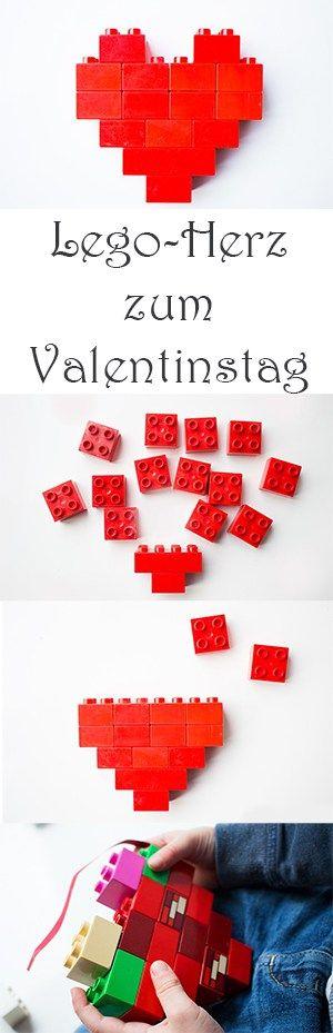 Lego-Herz zum Valentinstag mit Kindern basteln #basteln #bastelnmitkindern #spielen #diy #valentingstag #herz #upcycling #kinder #kindergarten