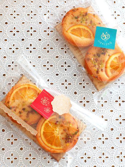 お菓子のラッピング オレンジフィナンシェ