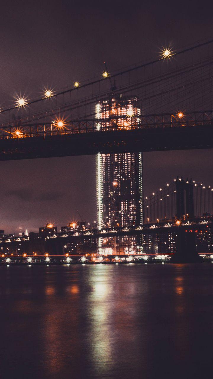 Brooklyn Bridge Night City New York City 720x1280 Wallpaper New York Wallpaper Cityscape Wallpaper Android Wallpaper