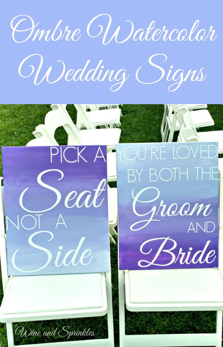 DIY Ombre Water Color Wedding Pick a Seat not a Side Wedding Signs painted on Canvas. Vinyl White Lettering using a Cricut Craft Cutter for this Purple and White wedding sign