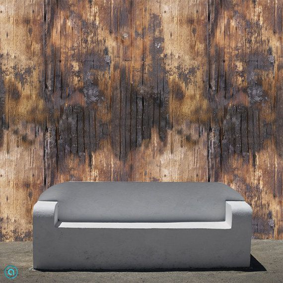 Removable Wallpaper- Singed Wood- Peel & Stick Self Adhesive Fabric Temporary Wallpaper-Repositionable-Reusable- FAST. EASY.