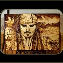 "New... My Johnny Depp, Pirates of the Caribbean ""One of a kind"" Original Artwork! (other pieces available in my shop section pyrography, wood burned art)  Custom Designed & Custom made by me Using Pyrography The term means ""writing with fire""  All of my Wood burned Art.... is Completely Ha..."