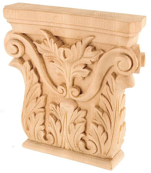 8 1 8 H X 8 1 8 W X 1 5 8 D Extra Large Decorated Acanthus Leaf Capital Wood Crafts