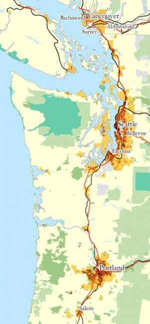 Best Cascadia Cartography Images On Pinterest Cartography - Us megaregions map