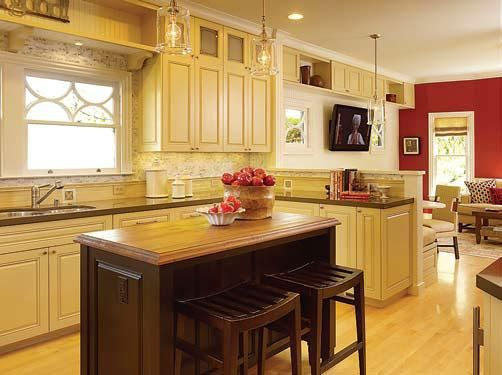 Kitchen family room combo color ideas with red and for Neutral colors for living room and kitchen