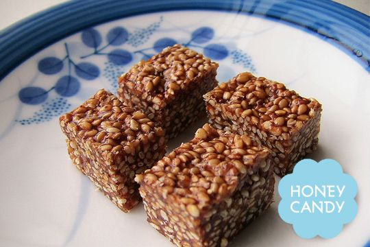 """Sesame Honey Candy (Pasteli).  made with honey and a variety of seeds and nuts. """"The original energy bar,"""" creates a sweet chewy sense, ideal with tea."""