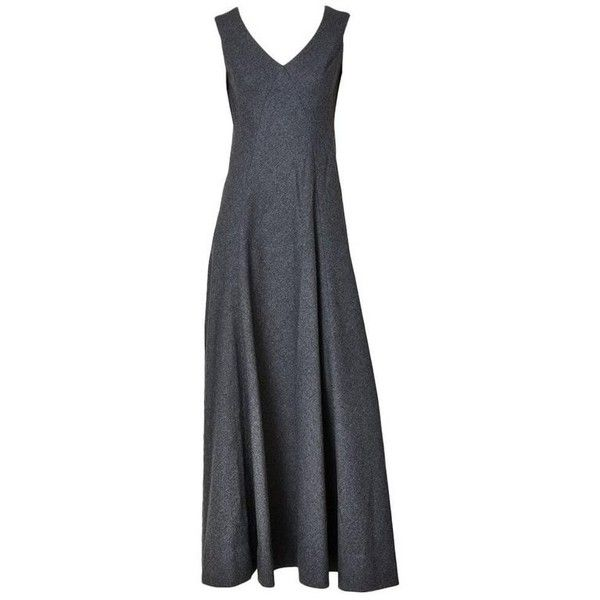Preowned Galanos Wool Gown ($1,595) ❤ liked on Polyvore featuring dresses, gowns, black, charcoal grey dress, charcoal gray dress, v neck dress, flared dress and gray gown