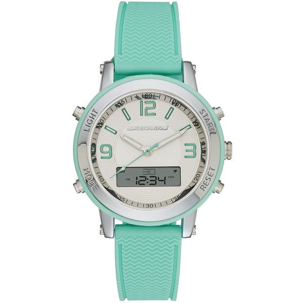 Skechers Womens Green Silicone Strap Analog/Digital Chronograph Watch ($40) ❤ liked on Polyvore featuring jewelry, watches, mint green jewelry, green dial watches, alarm watches, analog digital watches and digital chronograph watches