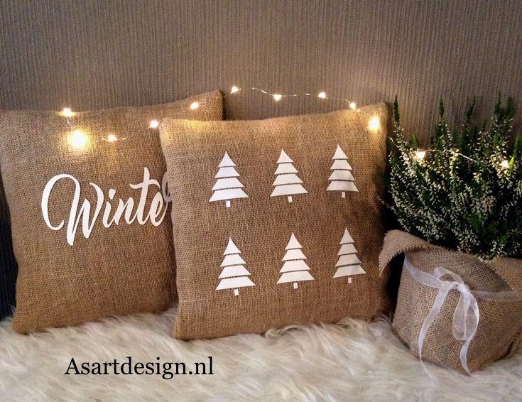 Jute kussen ' Winter'