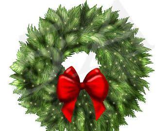 50 OFF Christmas Wreath Clipart Clip Art Xmas Holiday