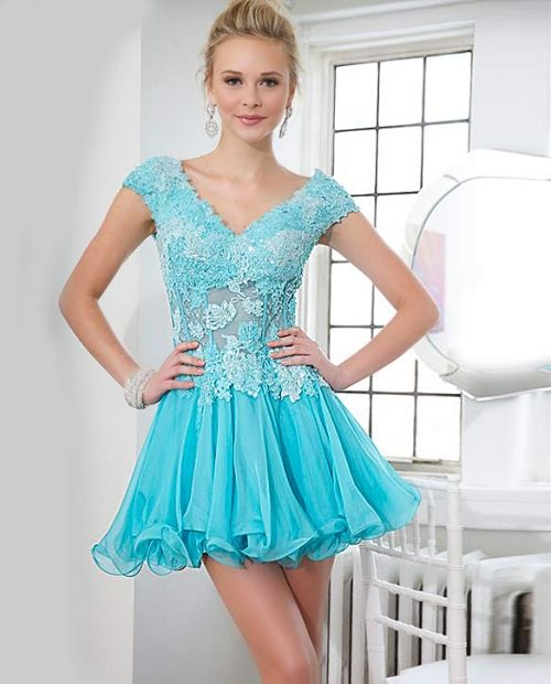 Sexy cap sleeve Jovani corseted short blue prom dress 2014 with a chiffon skirt features lace applique V-neckline
