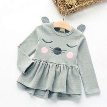 2017 Roupas de Outono das Crianças Estilo Coreano da Menina Do Gato Dos Desenhos Animados de Algodão Puro Vestido Da Menina Do Bebê Vestido de Camisa de Manga Longa(China (Mainland))