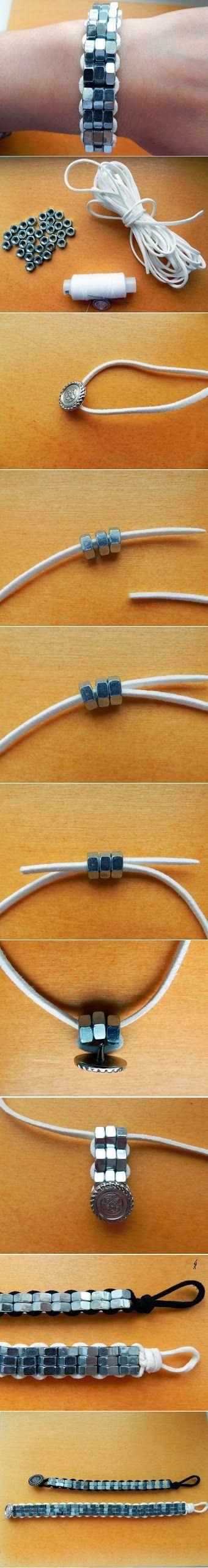 DIY Steel Nuts Bracelet