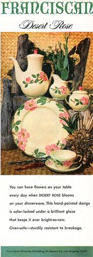 Desert Rose FRANCISCAN WARE Coffee Pot SUGAR & CREAMER Plate 1953 MAGAZINE AD