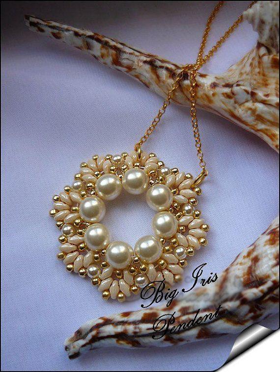 "pattern / tutorial superduo beads twin rocaille "" Big Iris"""
