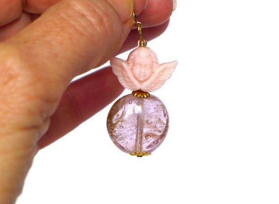 Engel Schmuck Charms Anhänger Glasperle gold rose mit von LonasART