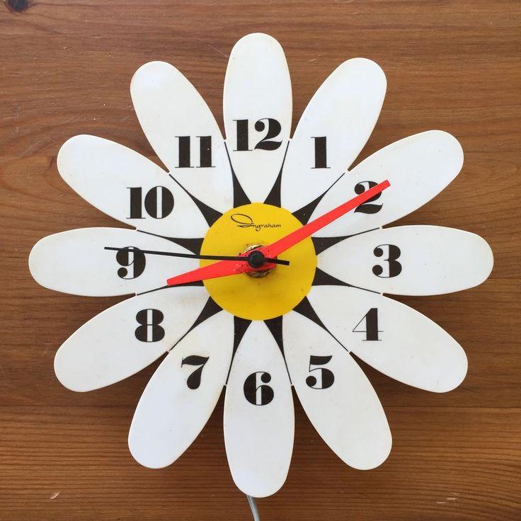 Vintage Ingraham Daisy Flower Electric Wall Clock Hippie 1960s #Ingraham