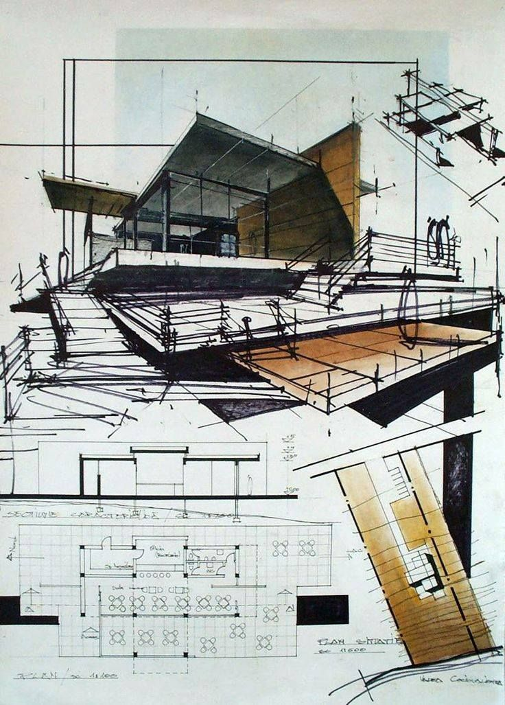 cool architecture drawing. Hand Drawn And Watercolour. Top Heavy Which Works Because Of The Diagonal Created By Coloured Images. Small Drawing In Right Allows You To Relate Cool Architecture B