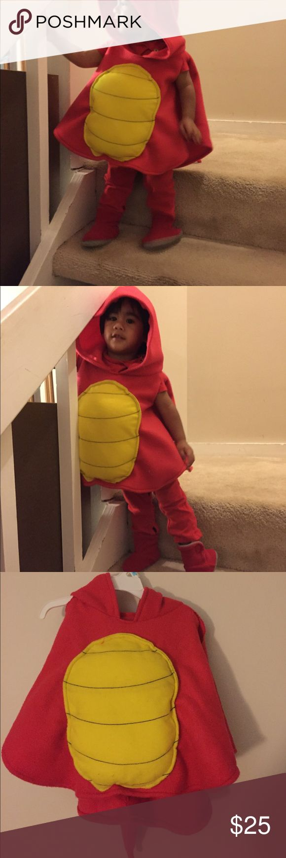 Dragon cape costume 18-24 months Hand sewn dragon cape costume, has stuffed tail that is attached to the cape with hood. Material is fleece and can fit 18 months up to 2T. The red boots or bodysuit does not come with the costume. Great for Halloween Costumes Halloween