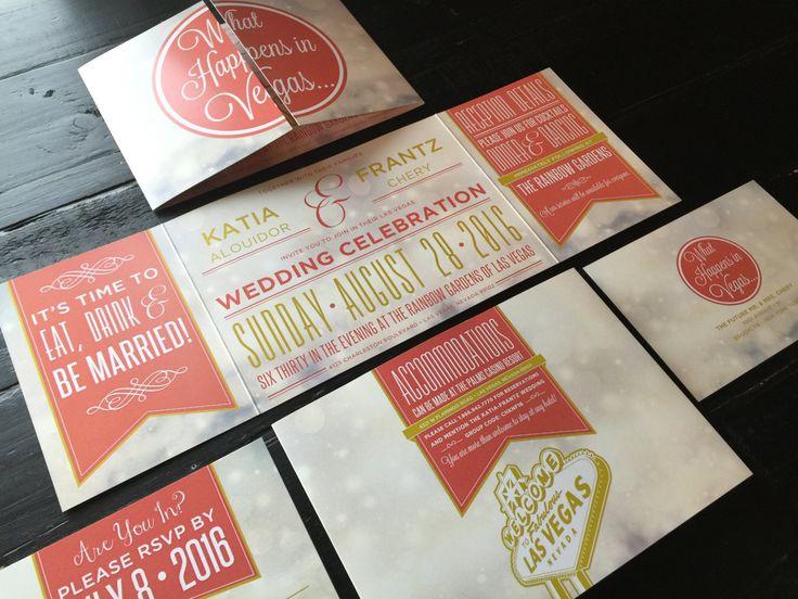 Coral Las Vegas Wedding Invitation Custom Fold By TheDesignBrewery
