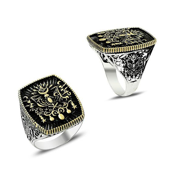 925 Sterling Silver Ottoman Ring for Men with Coat of Arms of Great Ottoman Empire - more amazing rings here http://www.forthemanilove.com/kara-jewels.html
