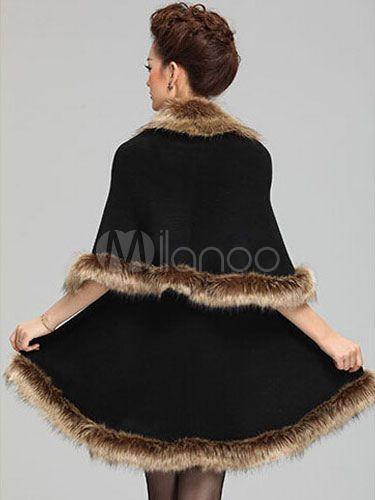 Sem mangas do falso guaxinim feminino Poncho casaco de pele - Milanoo.com