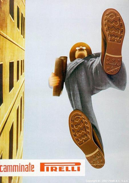 Camminate Pirelli, 1948 | Poster ad for Pirelli rubber soles, art by Ermanno Scopinich.