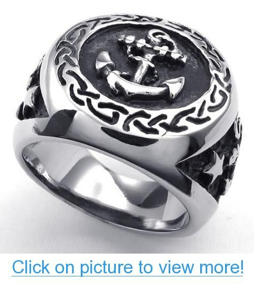 KONOV Jewelry Mens Stainless Steel Ring, Vintage Anchor Signet, Silver