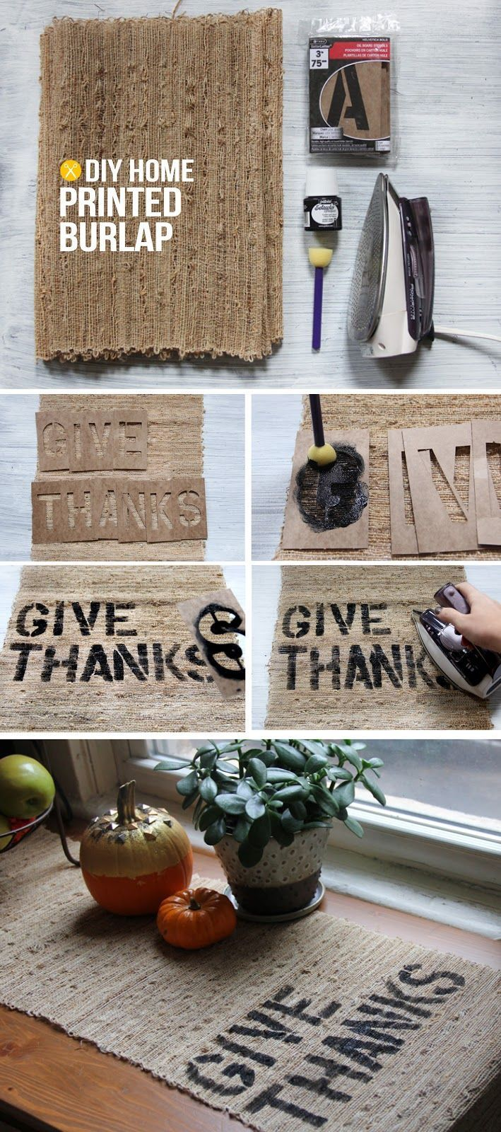 High Style, Low Budget : Thanksgiving Tables! Lot's of great ideas and tutorials, including this Thanksgiving table runner project made from burlap and a little paint from 'I Spy DIY'!