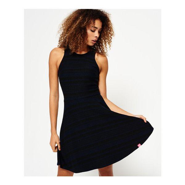Superdry Racer Fit & Flare Dress (710 MXN) ❤ liked on Polyvore featuring dresses, black, logo dress, superdry dresses, superdry, fit and flare dress and fit flare dress