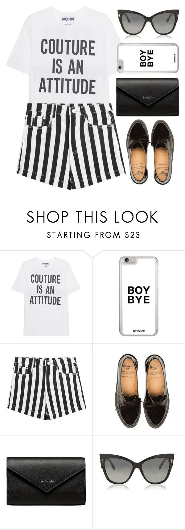 """Slogan tee"" by apoorvakingar ❤ liked on Polyvore featuring Moschino, Balenciaga and Tom Ford"
