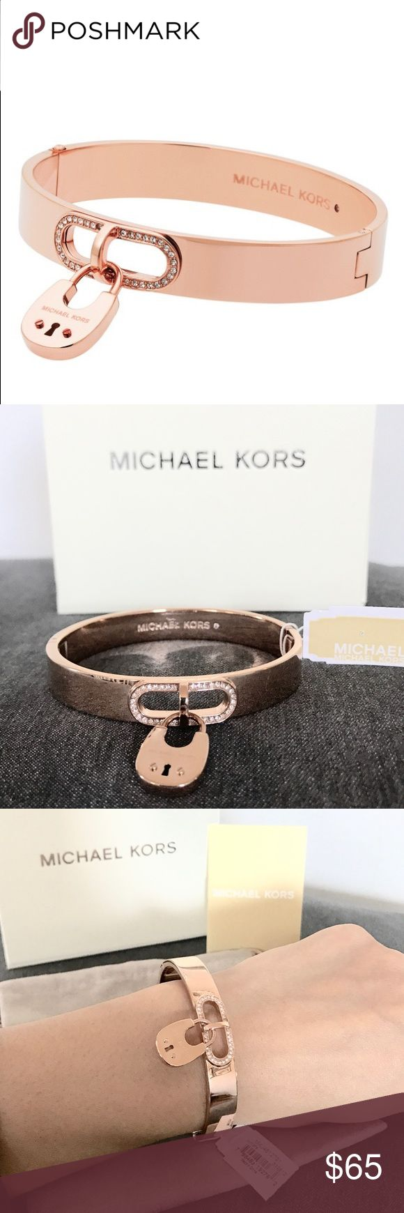 New Authentic MK rose gold tone Padlock bracelet Beautiful Michael Kors bracelet. Featuring a rose gold tone bangle with padlock charm with engraved logo and crystal stone embellishment. It is secured with hinged snap closure. Michael Kors Jewelry Bracelets
