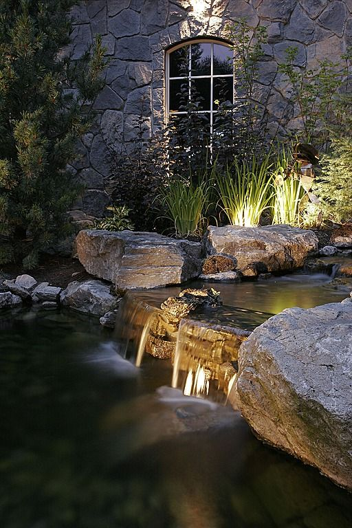Love the water feature and landscape lighting! #landscaping  #waterfeatures  #landscapelighting homechanneltv.com