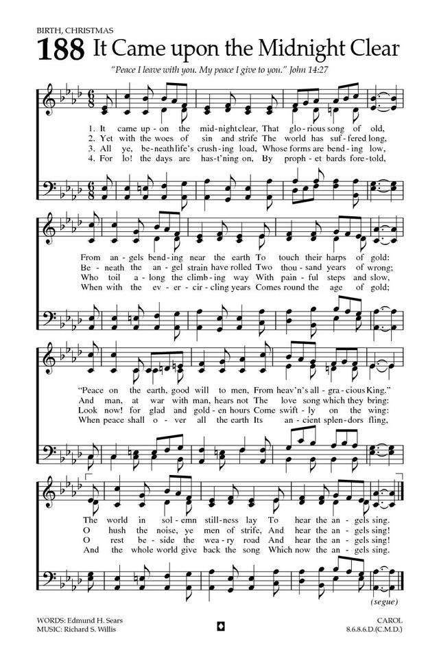 It Came Upon The Midnight Clear Baptist Hymnal 2008 Page 275 Em