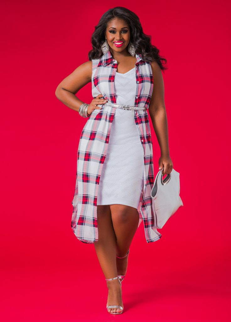 Ashley Stewart Sleeveless Plaid Duster #AshleyStewart