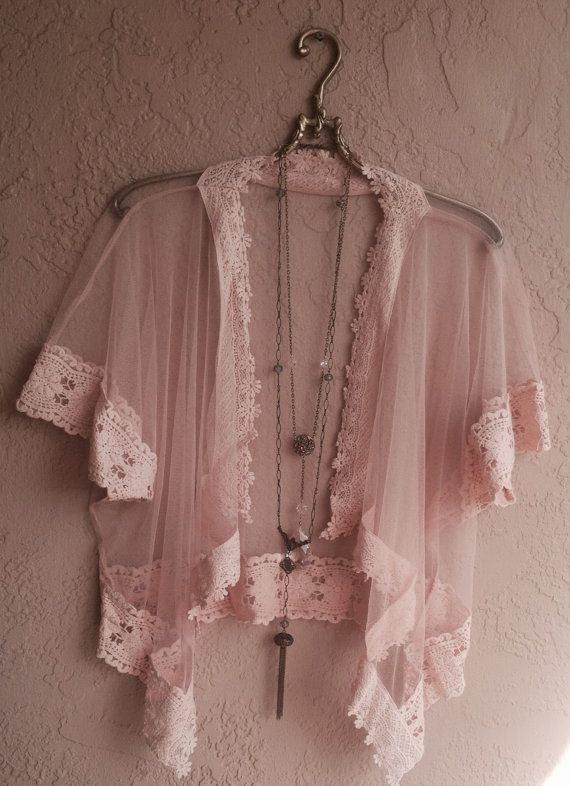 Romantic Peach Sheer lace and crochet kimono for by BohoAngels, $85.00