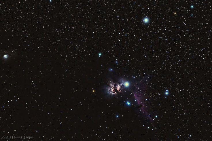 Flame & Horsehead Nebulas di Samuele Pinna. (Serramanna) – La nebulosa Fiamma (NGC2024) e la nebulosa Testa di Cavallo (B33) sono due oggetti del profondo cielo posizionate attorno la prima delle tre stelle componenti la cintura di Orione (Alnitak). La nebulosa Fiamma è una nebulosa di tipo diffuso mentre la nebulosa Testa di Cavallo è di tipo oscuro. Lo scatto include inoltre a sinistra la nebulosa M78 (NGC2068).  Data e Ora di acquisizione 24 Novembre 2016 alle 23:00. Al link i dettagli…