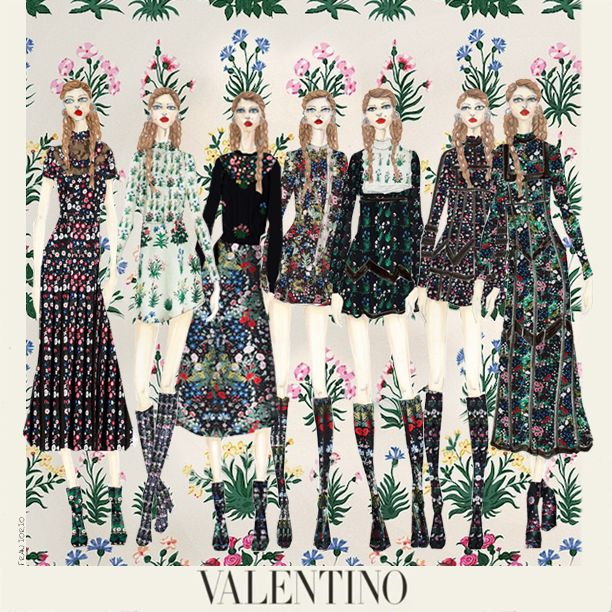 Celia Birtwell for Valentino #fashionillustration