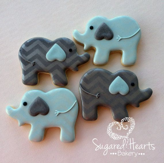 1 Dozen Blue and Gray Chevron Elephant by SugaredHeartsBakery - Baby shower, Boys Birthday, Bris, Baby Naming