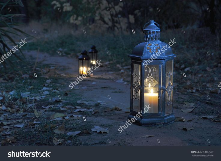 Antique Lanterns On An Autumn Path In The Dark Of Twilight Stock Photo 223013509 : Shutterstock