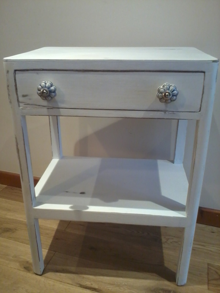 white shabby chic style side table with drawer