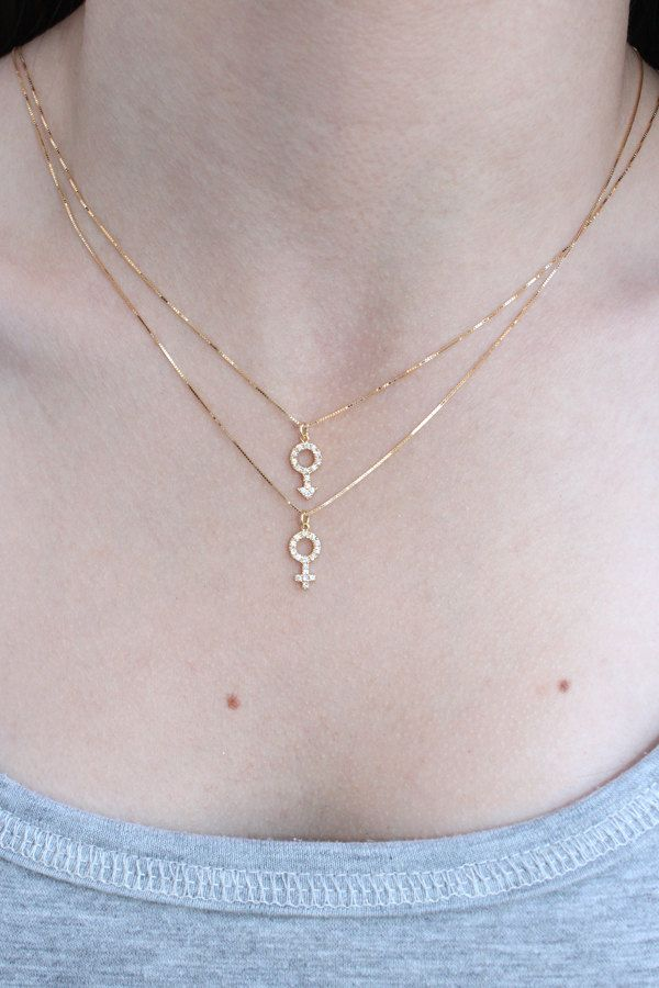 Mars Symbol Necklace NATURAL Diamonds Gold Female Symbol