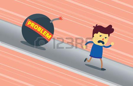 Un hombre huye de problema bomba caiga sobre él. Esta ilustración significado un hombre es un cobarde que no podía hacer frente a un problema. Foto de archivo - 47709583