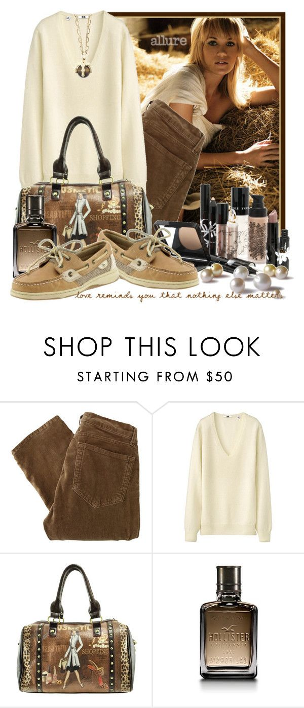 """""""Love Reminds You That Nothing Else Matters"""" by queenrachietemplateaddict ❤ liked on Polyvore featuring J Brand, Uniqlo, Looking Glass, Sperry, Hollister Co., Kara Ross, pearls, cream, shoes and bag"""