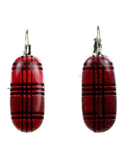 5,95 per paar. Rode oorbellen met streep patroon (klaphaak)