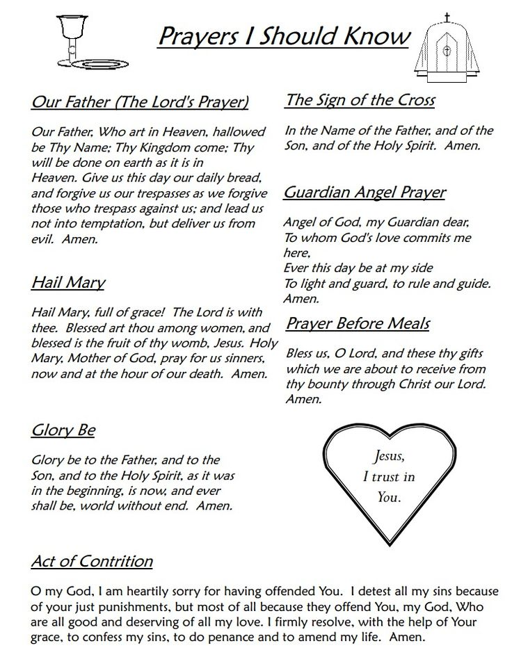 for Catholics Prayers every Catholic should know! These are burned into my memory from saying them so much!
